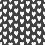 Dark seamless pattern of hand drawn white hearts — Stock Vector #42852299