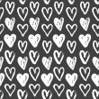 Seamless pattern of hand-painted white hearts on a grungy background — Stock Vector