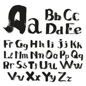 Black handwritten by a textured  brush alphabet — Vettoriale Stock