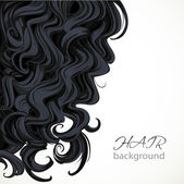 Background with curly black hair — Vector de stock