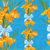 Blue seamless backround from spring yellow crocuses — Stock Vector