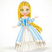 Söt unga prinsessan med långt hår i en blå klänning — Stockvektor