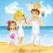 Family with children on sunny ocean beach — Stockvector