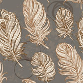 Dark vintage seamless background from bird feathers on stains from cups — ストックベクタ