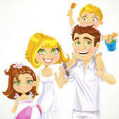Family with children ready for a beach holiday — Stock Vector