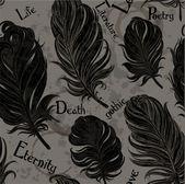 Fondo romántico inconsútil gótico de plumas negro — Vector de stock