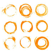 Orange textural prints circles thick paint — Stock Vector