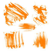 Orange dry brush strokes — Stock Vector