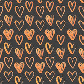 Seamless pattern of hand-painted  hearts on a grungy background — Stock Vector