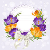 Card with crocuses and ribbon — Stock Vector