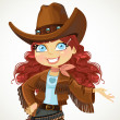 Cowgirl in big hat — Stock Vector #47371155