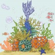 Coral reef with sea anemones — Stock Vector