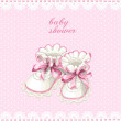 Pink booties baby shower card — Stock Vector #47371519