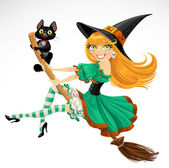 Witch flying on a broomstick on Halloween — Stock Vector