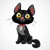 Black fluffy kitten — Stock Vector