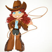 Cowgirl with Lasso — Stock Vector