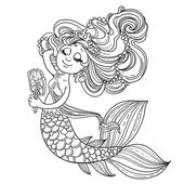 Mermaid girl before the mirror — Stock Vector