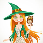 Witch with owlet — Stock Vector