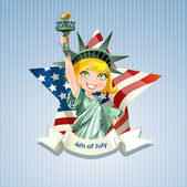 Statue of liberty on USA Independence Day — Stock Vector