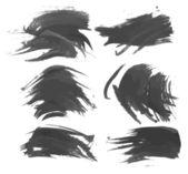 Strokes black gouache paint — Stock Vector