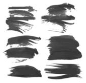 Strokes black gouache paint — Stock Vector