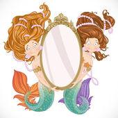 Mermaid with mirror — Stok Vektör