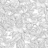 Seamless pattern of flowers peonies black and white graphics — Vecteur