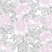 Seamless pattern of pink flowers peonies graphics — Stock Vector