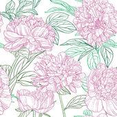 Modèle sans couture de graphiques de pivoines roses — Vecteur