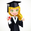 Girl in gown graduate holding scroll diploma — Stock Vector #48952927