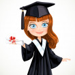 Girl in gown graduate holding scroll diploma — Stock Vector #48953199