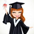 Girl in gown graduate holding scroll diploma — Stock Vector #48953201