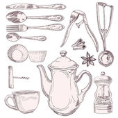 Cup of tea and vintage kitchen utensils — Stock Vector