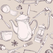 Beige seamless pattern of kitchen utensils — Vecteur