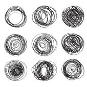 Set of abstract round brush strokes — Stok Vektör