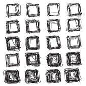 Set of abstract square brush strokes — Vettoriale Stock
