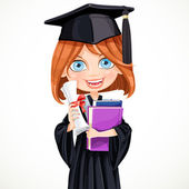 Girl in cap holding a scroll diploma — Stock Vector