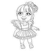 Cute little girl in tutu and wings — Vector de stock