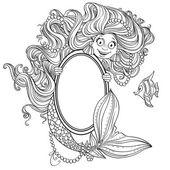 Mermaid holding a big mirror — Stock Vector
