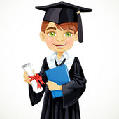 Student boy holding a diploma and schoolbook — Stock Vector