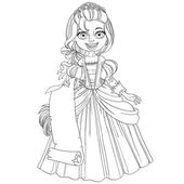 Princess holding blank sheet of parchment — Stockvector