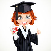 Girl in gown graduate holding a scroll diploma — Stock Vector