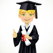 Happy student boy holding a diploma — Stock Vector
