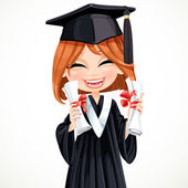 Student girl holding two diplomas — Stock Vector