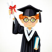 Student in glasses holding a diploma and book — Stock Vector