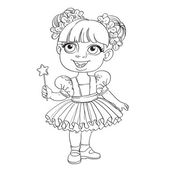 Girl in ballet tutu holding magic wand — Vector de stock