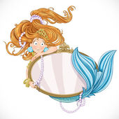 Mermaid holding a big mirror — Stock Vector