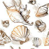 Seamless pattern of different shapes shell — Stock Vector