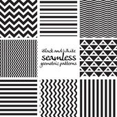 Set of black and white seamless geometric patterns — Stok Vektör