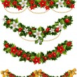 Green Christmas garlands of holly and mistletoe and bow — Stock Vector #8083428